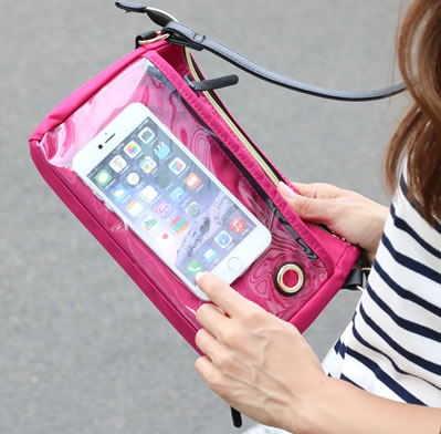 コスパ抜群 ナイロン製のお財布ポーチ お財布ポシェット スマホは入れたまま操作可能