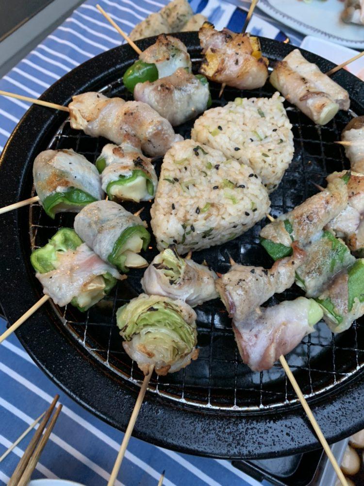 ベランダバーベキュー(BBQ) 焼きおにぎり 肉巻き野菜串